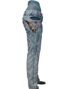 Джинси жіночі, варенка, з тканинними вставками