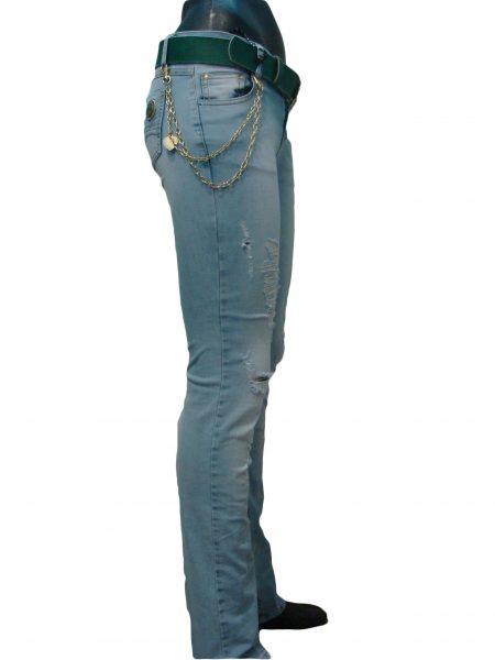 Джинси жіночі, світло-блакитна варенка, порвані