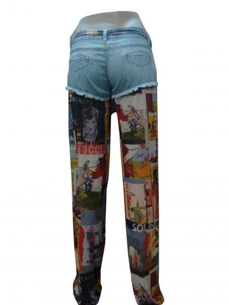 Шорты-брюки женские, джинсовые, комбинированные