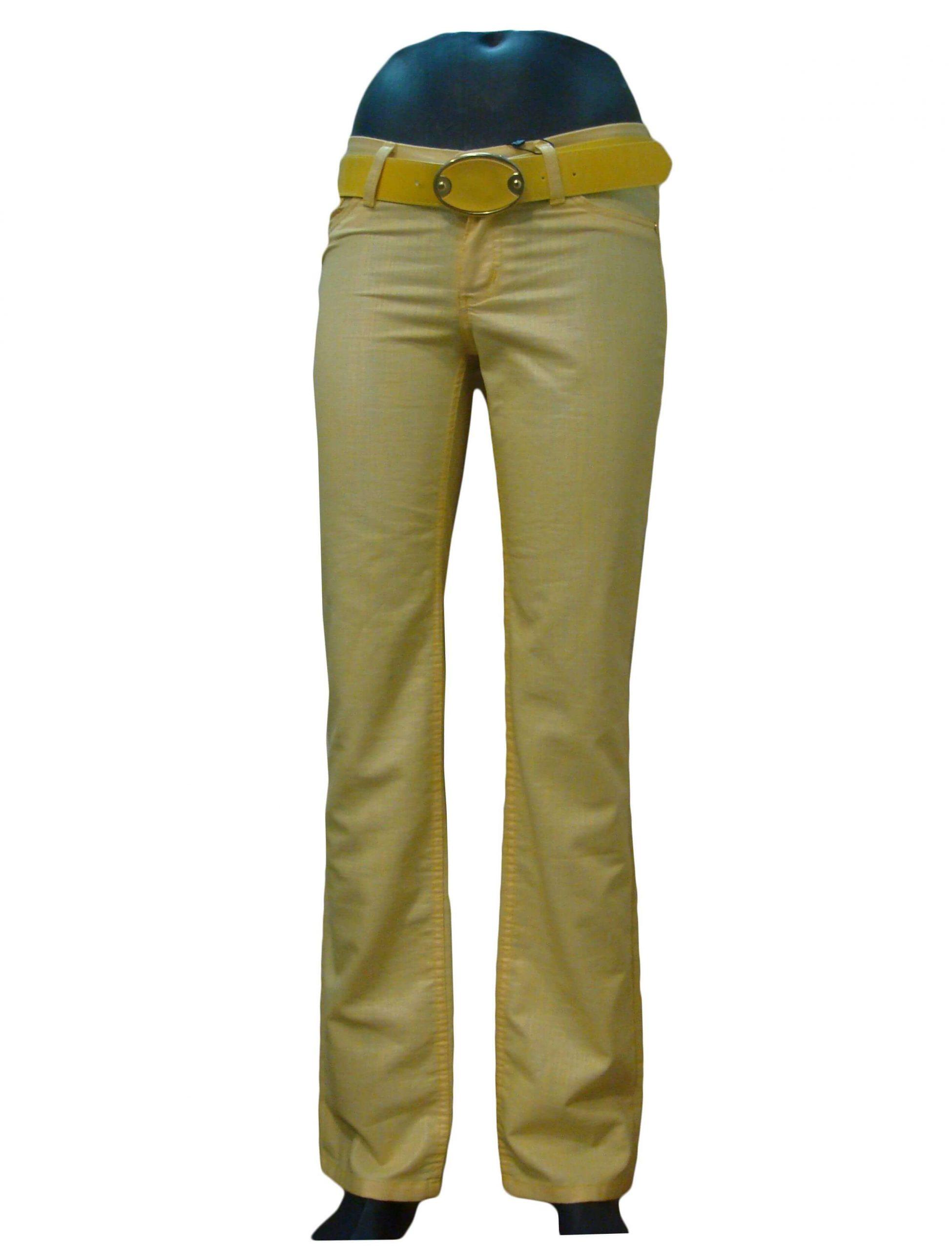 Брюки женские желтые, прямые, с вышивкой на заднем кармане