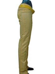 Штани жіночі жовті, прямі, з вишивкою на задній кишені