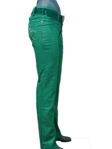 Брюки женские зеленые, прямые, с вышивкой на заднем кармане