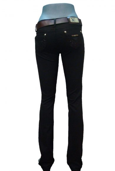 Брюки женские, коричневые, стрэйч, джинсовый покрой