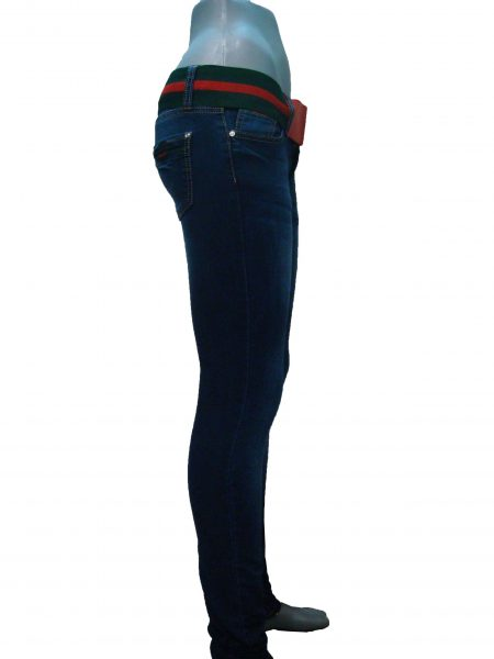 Джинсы женские, синие, с широким поясом