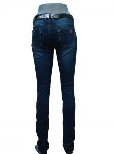 Джинсы женские, узкие, синие, с черным поясом