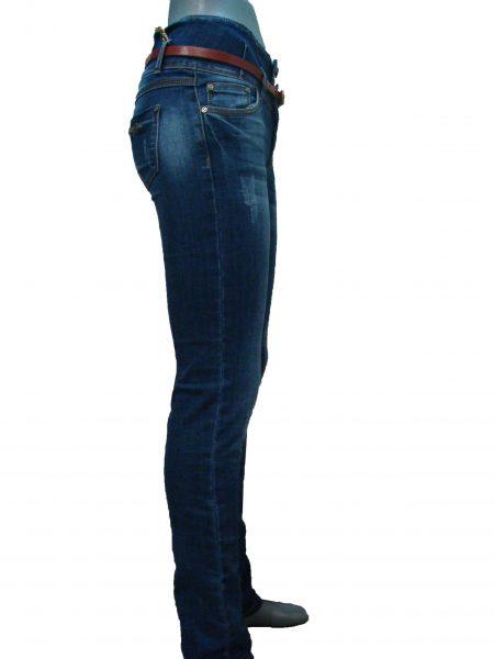 Джинсы женские, синие, узкие, с поясом-кокеткой