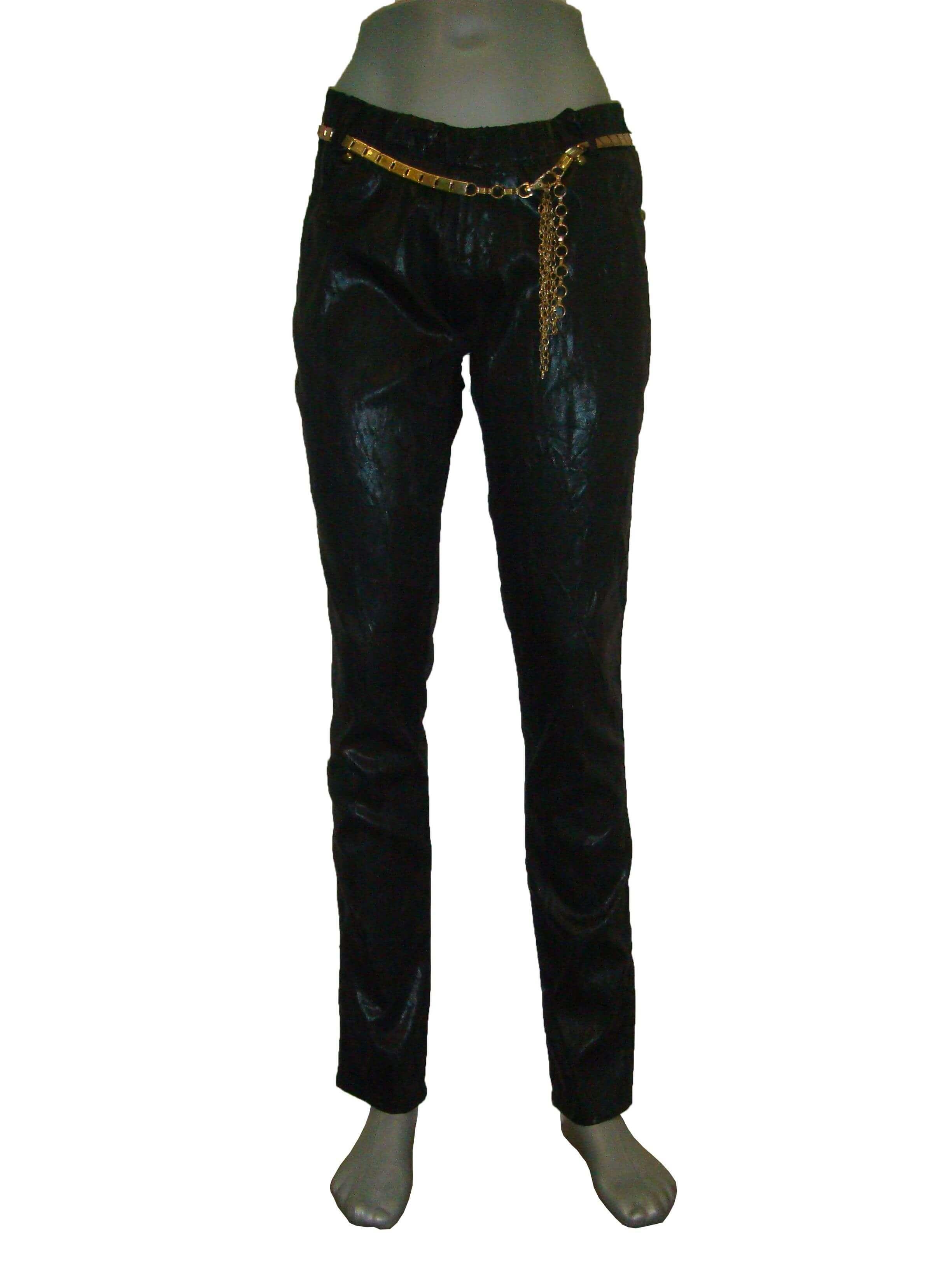 Лосины женские черные, с металлическим поясом