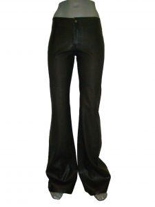 Кожаные женские брюки, клеш от колена