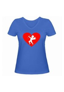 Женская футболка Амур голубая