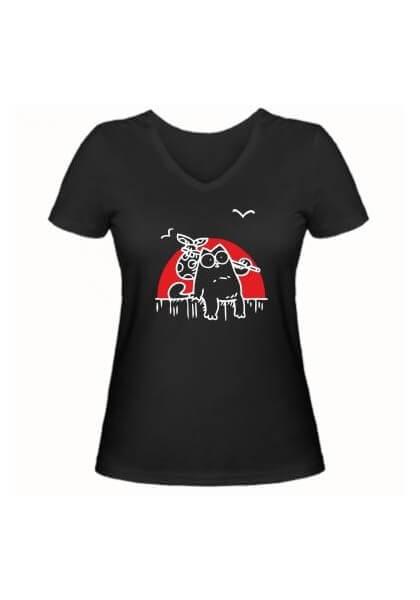 Женская футболка Кот Саймона на фоне заката черная