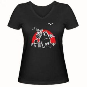 Женская футболка Кот Саймона на фоне заката