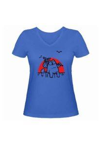 Женская футболка Кот Саймона на фоне заката синяя