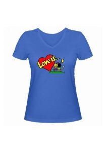 Женская футболка Love is... голубая
