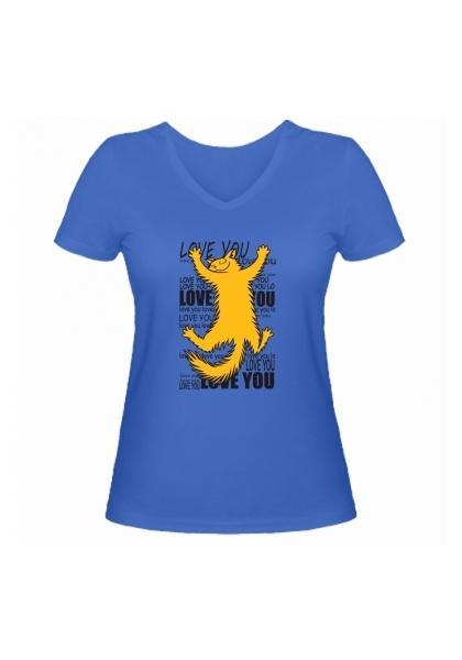 Женская футболка Love you голубая