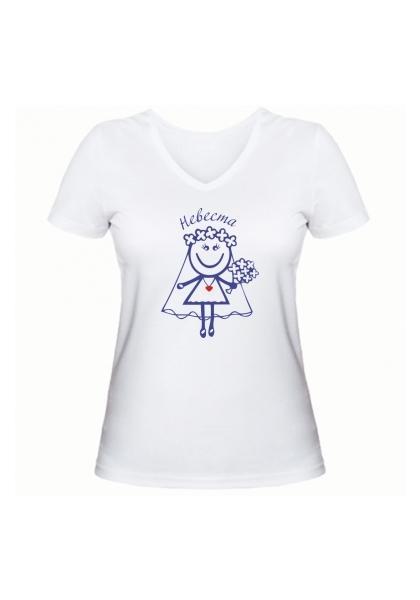 женская футболка невеста белая