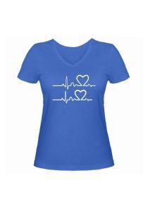 Женская футболка В ритме любви голубая