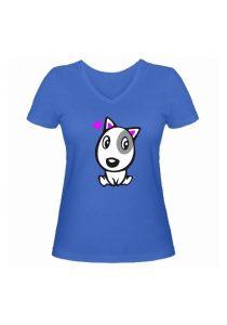 Женская футболка Влюбленная собачка синяя